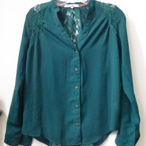 Jolt Top Blouse Size XS Long Sleeve Button Up